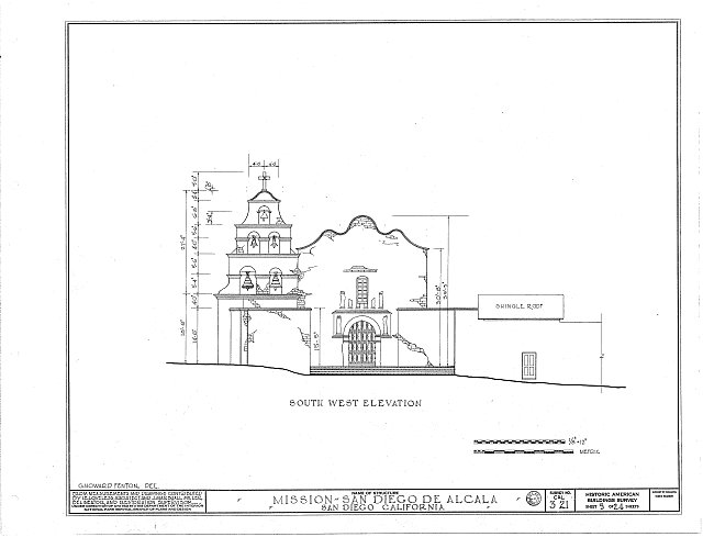 HABS CAL,37-SANDI,1- (sheet 5 of 24) - Mission San Diego de Alcala, Misson Valley Road, San Diego, San Diego County, CA