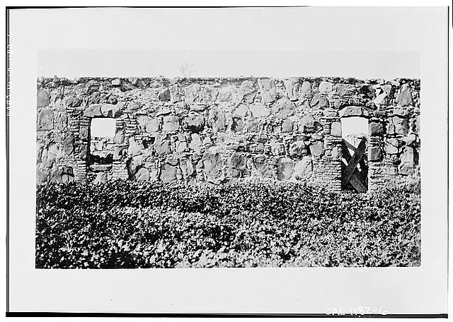 6.  FRONT VIEW OF EXTERIOR WALL SHOWING TWO OPENINGS - Santa Margarita Asistencia, Santa Margarita, San Luis Obispo County, CA