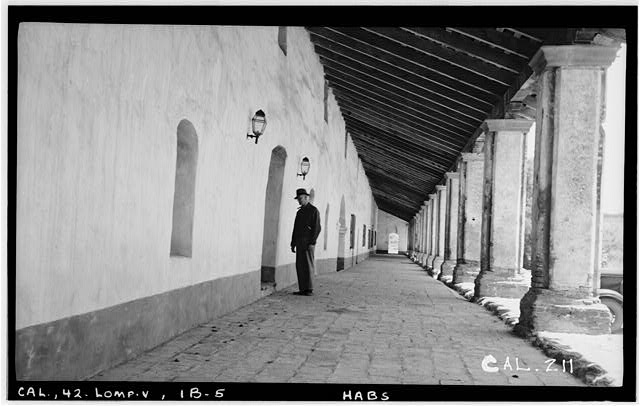 6.  Historic American Buildings Survey Photographed by Henry F. Withey May, 1937 MONASTERY, CORRIDOR TOWARD EAST - Mission La Purisima Concepcion, Lompoc, Santa Barbara County, CA