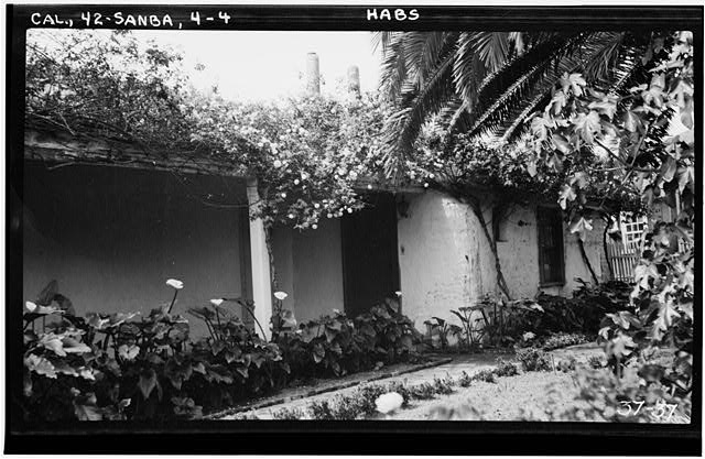 4.  Historic American Buildings Survey Photographed by C. A. Fletcher April 20, 1934. NORTH FRONT, WEST END OF PORCH - Mrs. A. L. M. Vhay House, 835 Leguna Street, Santa Barbara, Santa Barbara County, CA