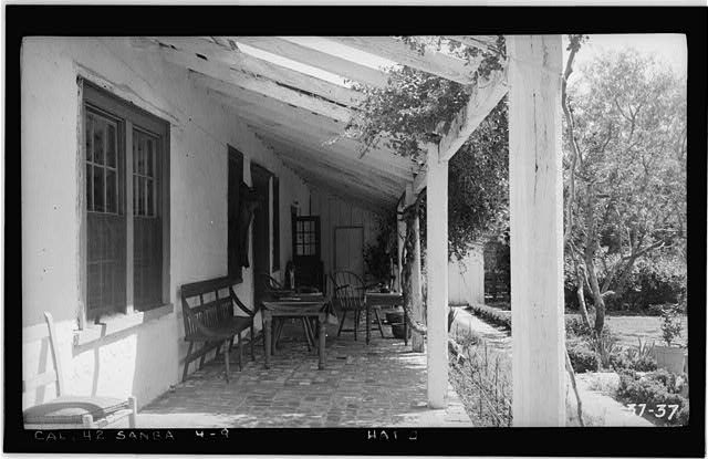 9.  Historic American Buildings Survey, Photographed by Henry F. Withey, April 4th, 1934 SOUTH PORCH, LOOKING EAST - Mrs. A. L. M. Vhay House, 835 Leguna Street, Santa Barbara, Santa Barbara County, CA