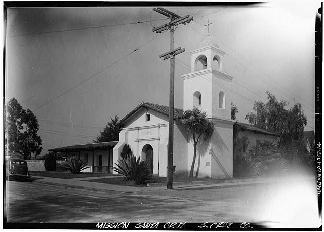 14.  Photographer unknown, ca. 1940 REPLICA OF ORIGINAL CHURCH (at one-third size; built 1931), FRONT AND SIDE - Mission Santa Cruz, Emmet & School Streets, Santa Cruz, Santa Cruz County, CA