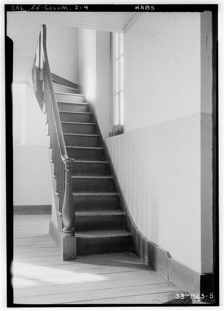 4.  Historic American Buildings Survey Roger Sturtevant, Photographer Jan. 21, 1934 STAIRWAY LEADING TO CHOIR LOFT - St. Anne's Church, Church Street, Columbia, Tuolumne County, CA