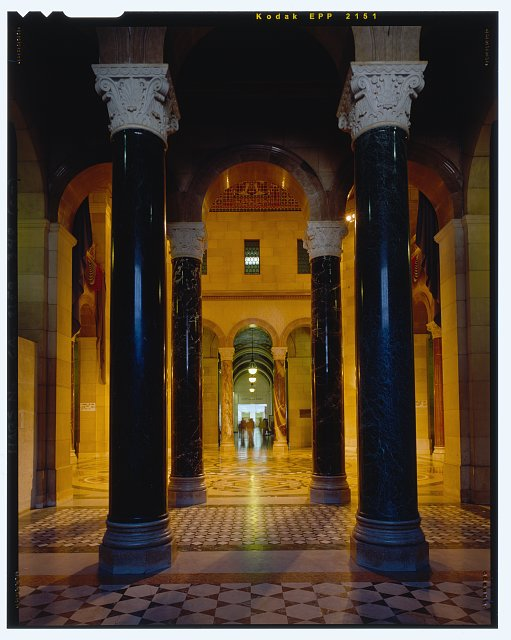 Monica Griesbach, Photographer August 1997. VIEW OF LOS ANGELES CITY HALL THIRD FLOOR FROM WEST ENTRANCE TO THE ROTUNDA, FACING EAST - Los Angeles City Hall, 200 North Spring Street, Los Angeles, Los Angeles County, CA