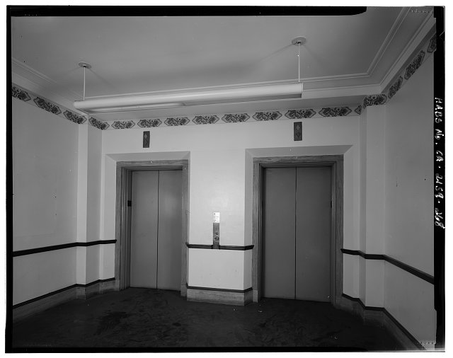 Bruce D. Judd, FAIA, Photographer August 1997. VIEW OF LOS ANGELES CITY HALL ELEVENTH FLOOR ELEVATOR LOBBY, FACING NORTH - Los Angeles City Hall, 200 North Spring Street, Los Angeles, Los Angeles County, CA