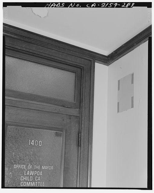 Monica Griesbach, Photographer August 1997. DETAIL OF LOS ANGELES CITY HALL FOURTEENTH FLOOR CROWN MOLDING NEAR ROOM 1400, FACING WEST - Los Angeles City Hall, 200 North Spring Street, Los Angeles, Los Angeles County, CA