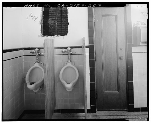 John Ash, AIA, Photographer August 1997. VIEW OF LOS ANGELES CITY HALL FIFTEENTH FLOOR MEN'S ROOM OFF ELEVATOR LOBBY, FACING EAST - Los Angeles City Hall, 200 North Spring Street, Los Angeles, Los Angeles County, CA