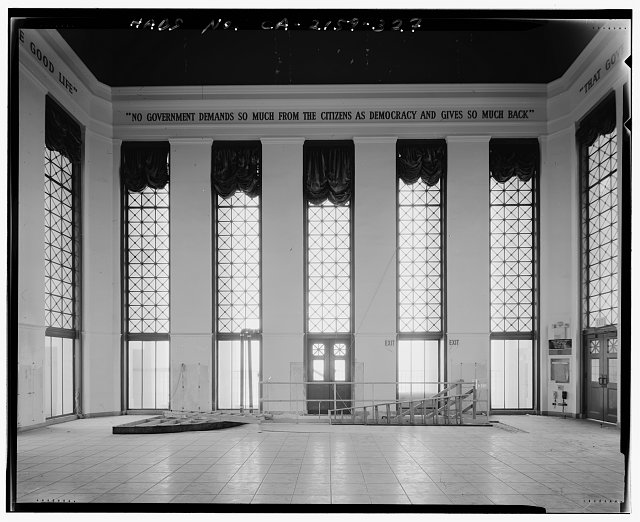 John Ash, AIA, Photographer August 1997. INTERIOR NORTH ELEVATION OF LOS ANGELES CITY HALL TWENTY-SEVENTH FLOOR TOWER RECEPTION ROOM, FACING NORTH - Los Angeles City Hall, 200 North Spring Street, Los Angeles, Los Angeles County, CA