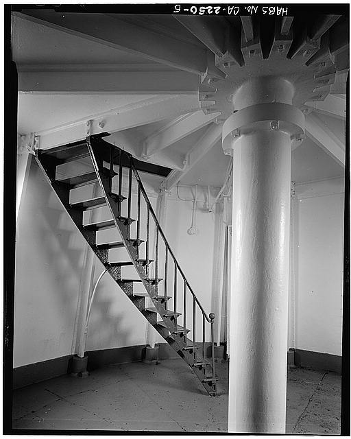 5.  INTERIOR OF LOWER LEVEL, SHOWING STAIR - Point Reyes Lighthouse, Point Reyes Station, Marin County, CA