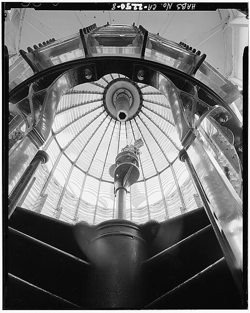 8.  FIRST ORDER FRESNEL LENS LOOKING UP FROM INTERIOR OF LIGHTHOUSE - Point Reyes Lighthouse, Point Reyes Station, Marin County, CA