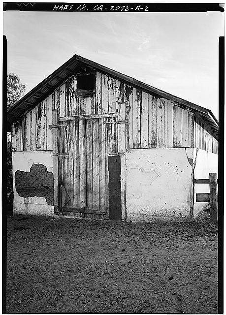2.  GABLE END, SHOWING EXPOSED ADOBE BRICK - Johnson-Taylor Ranch, Barn, Black Mountain Road vicinity, Rancho Penasquitos, San Diego County, CA