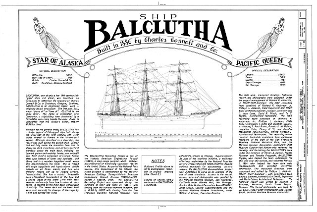 Title Sheet - Ship BALCLUTHA, 2905 Hyde Street Pier, San Francisco, San Francisco County, CA
