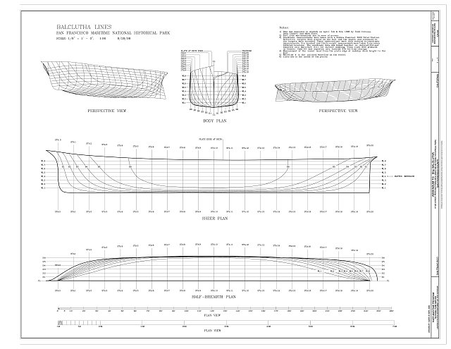 Perspective views, Body Plan, Sheer Plan, and Half-Breadth Plan - Ship BALCLUTHA, 2905 Hyde Street Pier, San Francisco, San Francisco County, CA