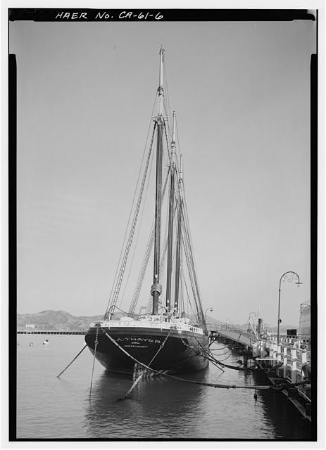 6.  Stern view looking forward. - Schooner C.A. THAYER, Hyde Street Pier, San Francisco, San Francisco County, CA
