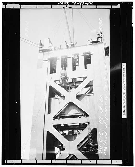100.  VIEW SHOWING METHOD OF POURING COUNTERWEIGHT BOX, September 5, 1935 - Sacramento River Bridge, Spanning Sacramento River at California State Highway 275, Sacramento, Sacramento County, CA