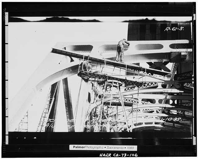 106.  VIEW SHOWING THE APPLICATION OF ALUMINUM PAINT, November 10, 1935 - Sacramento River Bridge, Spanning Sacramento River at California State Highway 275, Sacramento, Sacramento County, CA