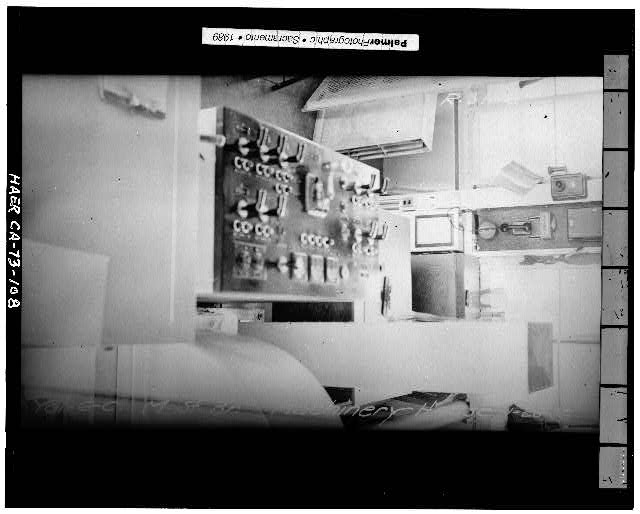 108.  INTERIOR VIEW OF OPERATOR'S CABIN, SHOWING CONTROL PANEL, January 28, 1936 - Sacramento River Bridge, Spanning Sacramento River at California State Highway 275, Sacramento, Sacramento County, CA