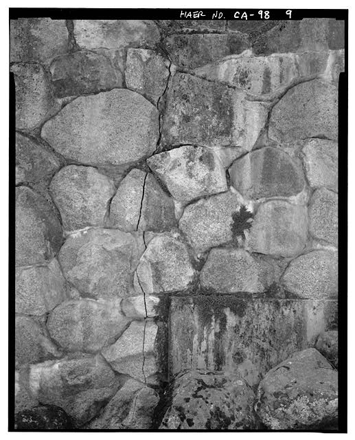 9.  CONCRETE FOOTING, ROCK DETAIL AND STRESS FRACTURE AT SW CORNER. - Tenaya Creek Bridge, Spanning Tenaya Creek on Mirror Lake Road, Yosemite Village, Mariposa County, CA