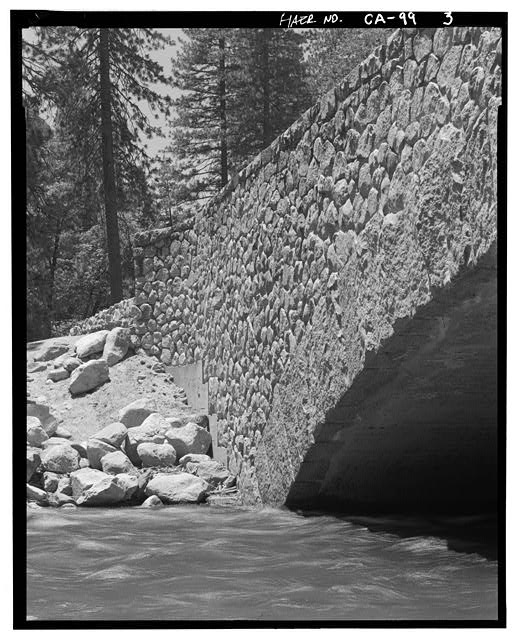 3.  SW CORNER CONSTRUCTION DETAILS: ARCH, ROCK WORK AND CONCRETE FOOTING. - Sugar Pine Bridge, Spanning Merced River on service road, Yosemite Village, Mariposa County, CA