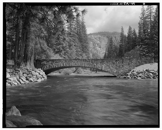 7.  WEST FACE OF BRIDGE FROM NORTH BANK. - Sugar Pine Bridge, Spanning Merced River on service road, Yosemite Village, Mariposa County, CA
