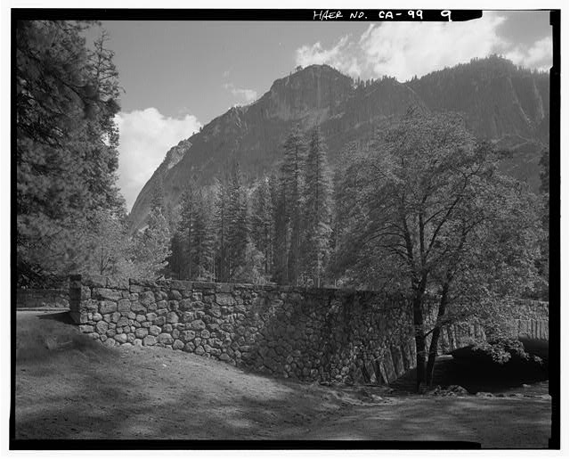 9.  VIEW OF NW CORNER OF BRIDGE WITH GLACIER POINT IN DISTANCE. - Sugar Pine Bridge, Spanning Merced River on service road, Yosemite Village, Mariposa County, CA