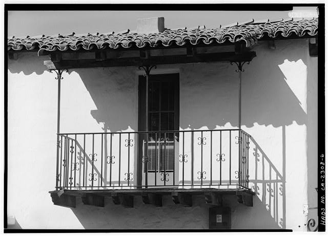 6.  SOUTHWEST FRONT, DETAIL OF SECOND-LEVEL BALCONY - Joers-Ketchum Store, 6014-6016 La Granada, Rancho Santa Fe, San Diego County, CA