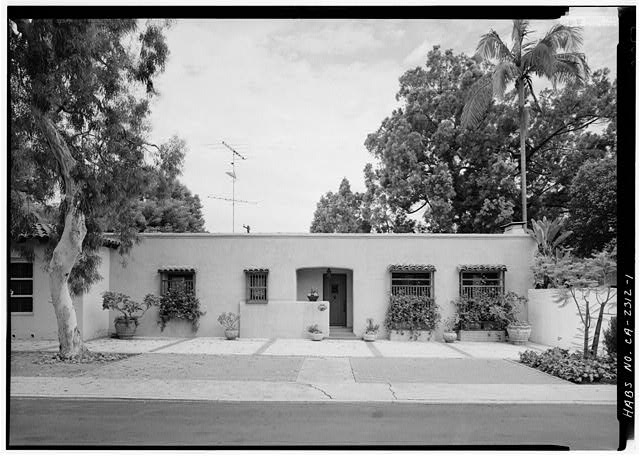 1.  SOUTHEAST FRONT - Baker-Megrew Rowhouse, 6122 Paseo Delicias, Rancho Santa Fe, San Diego County, CA