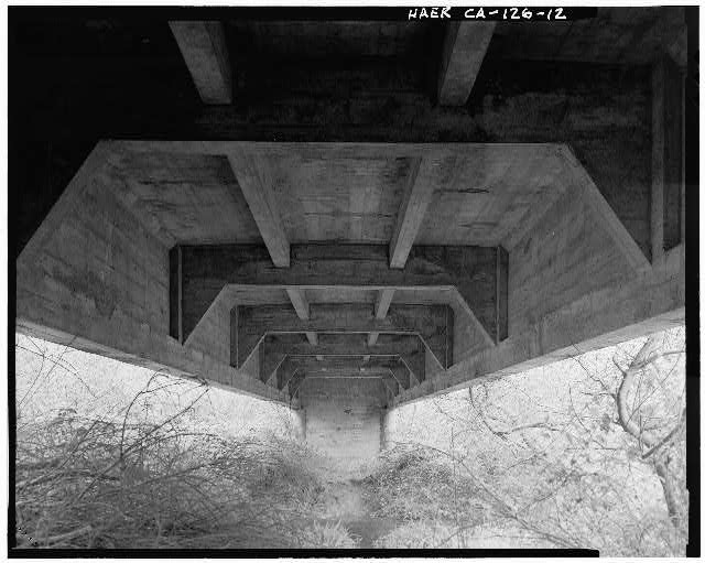 12.  Underside of bridge, view to southwest along centerline from north abutment. - Salt River Bridge, Spanning Salt River at Dillon Road, Ferndale, Humboldt County, CA