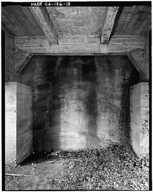 13.  Detail, north abutment, view to northeast along centerline from beneath bridge. - Salt River Bridge, Spanning Salt River at Dillon Road, Ferndale, Humboldt County, CA