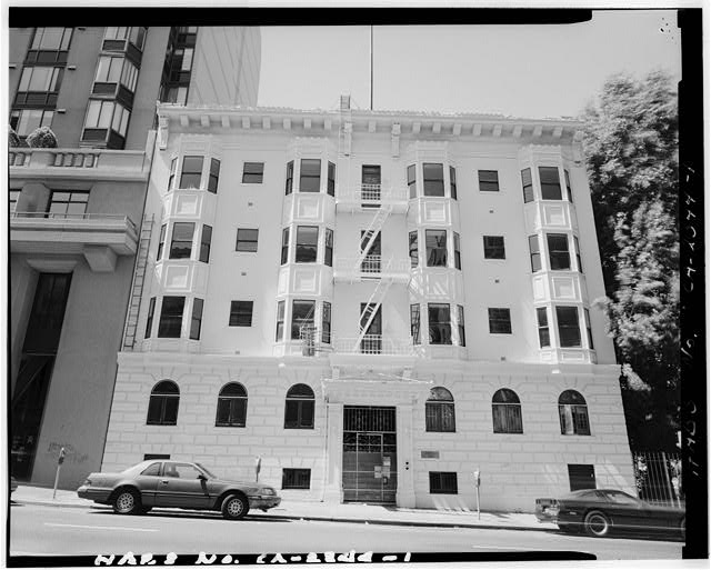 1.  FACADE, viewed from south side of O'Farrell Street. - Adelphian Apartments, 820 O'Farrel Street, San Francisco, San Francisco County, CA