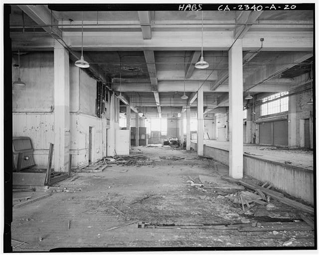 View to south of interior of American Railway Express Building Mail Room, first floor, showing elevated interior loading dock on right (west) - Southern Pacific Railroad Depot, Railroad Terminal Post Office & Express Building, Fifth & I Streets, Sacramento, Sacramento County, CA