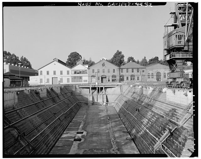 View from caisson of dry-dock 1 of buildings 50, 52, and 46; camera facing west. - Mare Island Naval Shipyard, East of Nave Drive, Vallejo, Solano County, CA