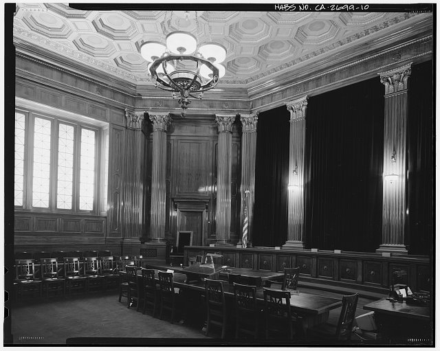 Supreme Court Room (room 129), looking southeast (bearing 135). - California State Library & Courts Building, 914 Capitol Mall, Sacramento, Sacramento County, CA