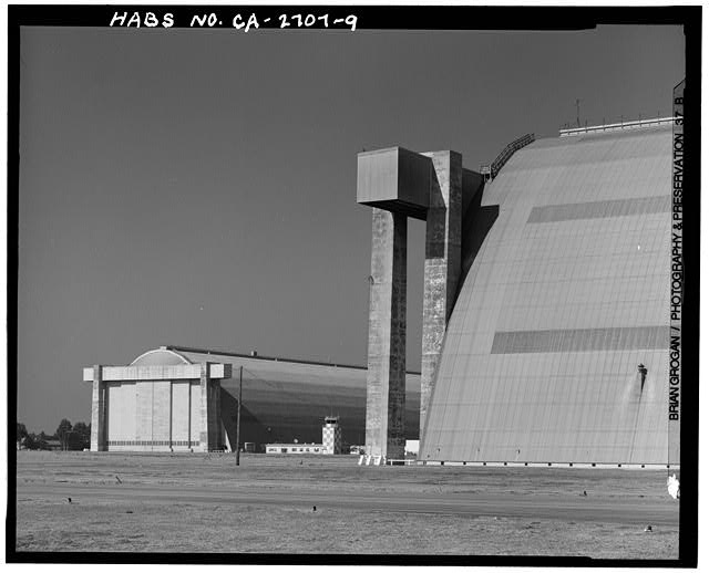 Site overview.  View of hangar no. 1 at rear, hangar no. 2 at right.  Looking 350 N. - Marine Corps Air Station Tustin, East of Red Hill Avenue between Edinger Avenue & Barranca Parkway, Tustin, Orange County, CA