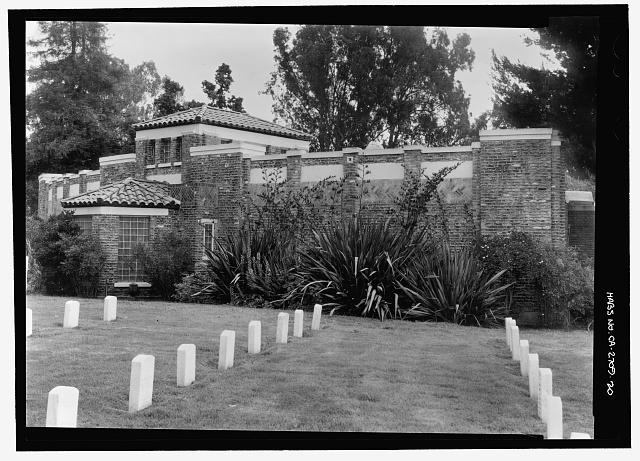 REAR OF COLUMBARIUM.  VIEW TO NORTHEAST. - Los Angeles National Cemetery, 950 South Sepulveda Boulevard, Los Angeles, Los Angeles County, CA