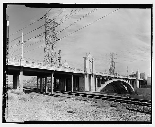 2.  SOUTHSIDE OF CESAR CHAVEZ BRIDGE. LOOKING EAST/NORTHEAST. - Macy Street Viaduct, Los Angeles, Los Angeles County, CA