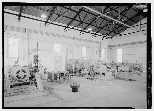 INTERIOR VIEW FROM SOUTHWEST OF GARVANZA PUMPING STATION IN HIGHLAND PARK - Los Angeles Aqueduct, Garvanza Pump Station, Los Angeles, Los Angeles County, CA