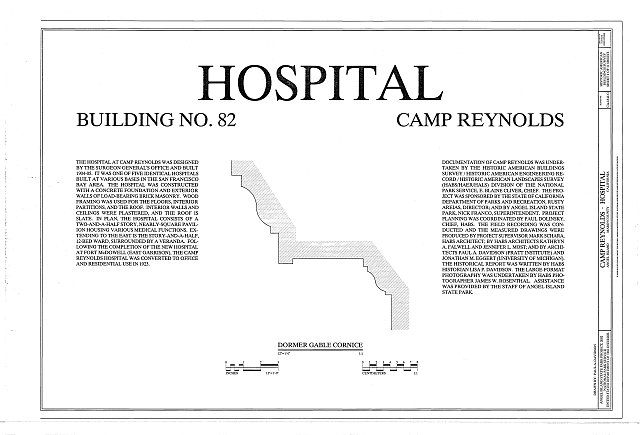 HABS CA-1841-G (sheet 1 of 11) - Camp Reynolds, Hospital, Angel Island State Park, Angel Island, Marin County, CA
