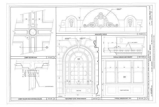 Window Details, Lobby Ceiling Plan, Lobby Column and Coffered Ceiling - Hotel San Diego, 301-385 West Broadway, between State & Union Streets, San Diego, San Diego County, CA