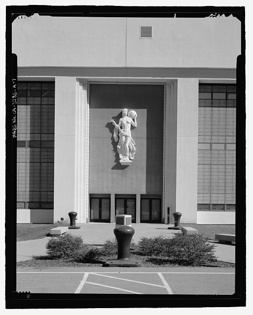 Detail of main entrance on southwest side of building, camera facing northeast - Golden Gate International Exposition, Hall of Transportation, 440 California Avenue, Treasure Island, San Francisco, San Francisco County, CA