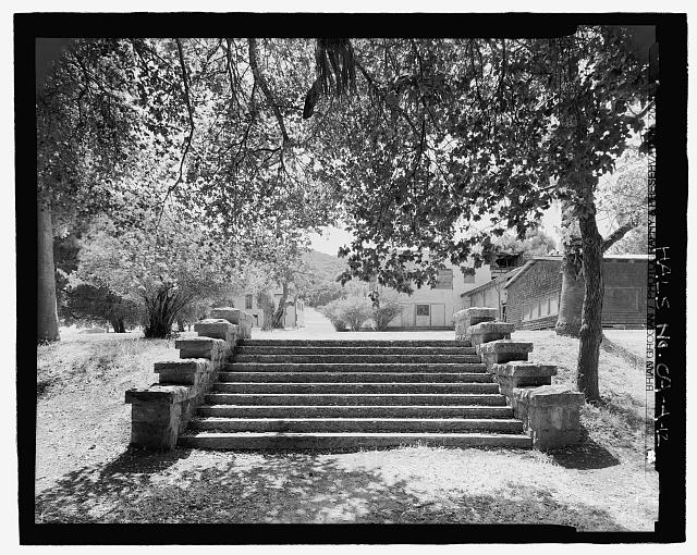 GARDEN STAIRCASE WITH HOUSE AT RIGHT REAR.  LOOKING WEST.  - Olompali State Historic Park, Mary Burdell Garden, U.S. Highway 101, Novato, Marin County, CA