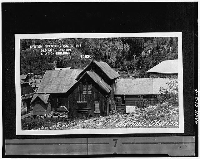 4.  EXTERIOR VIEW (C.1913) OF 1895 POWER HOUSE, ROOF OF 1905 POWER HOUSE IS VISIBLE IN RIGHT SIDE OF PHOTO. - Ames Hydroelectric Plant, Ames, San Miguel County, CO