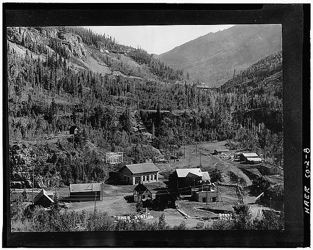8.  GENERAL VIEW OF AMES POWER STATION. 1905 POWER HOUSE AT CENTER OF PHOTO, 1895 POWER HOUSE TO RIGHT OF 1905 POWER HOUSE. - Ames Hydroelectric Plant, Ames, San Miguel County, CO