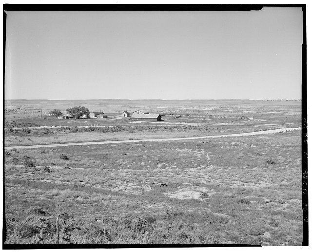 General view from hogback, looking northwest - Samuel T. Brown's Sheep Ranch, 6 miles east of U.S. Highway 350, Model, Las Animas County, CO