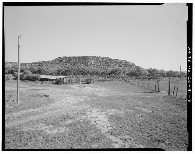 Area around calf barn (CO-91-G), looking southeast. - Eugene Rourke Ranch, 19 miles east of U.S. Highway 350, Model, Las Animas County, CO
