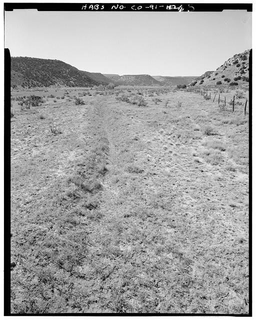General view, irrigation canal northwest end of property, looking west. - Eugene Rourke Ranch, 19 miles east of U.S. Highway 350, Model, Las Animas County, CO