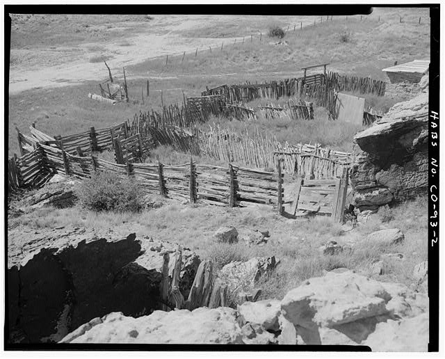 Corrals, general view, looking west. - John Sanders Cross Homestead, 11 miles east of U.S. Highway 350, Model, Las Animas County, CO