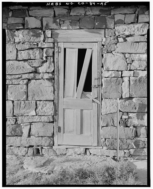 Marguerite Arnet Residence, exterior door detail, looking north. - Adam & Bessie Arnet Homestead, Marguerite Arnet Residence, 560 feet northeast of Adam & Bessie Arnet Residence, Model, Las Animas County, CO