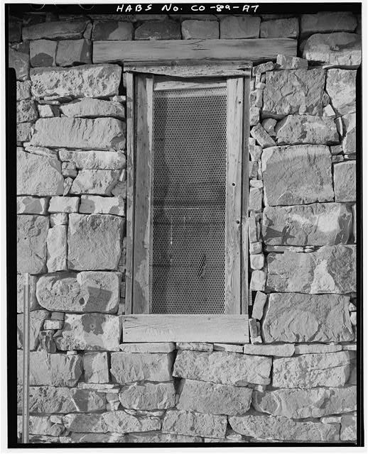 Marguerite Arnet Residence, exterior window detail, looking north. - Adam & Bessie Arnet Homestead, Marguerite Arnet Residence, 560 feet northeast of Adam & Bessie Arnet Residence, Model, Las Animas County, CO
