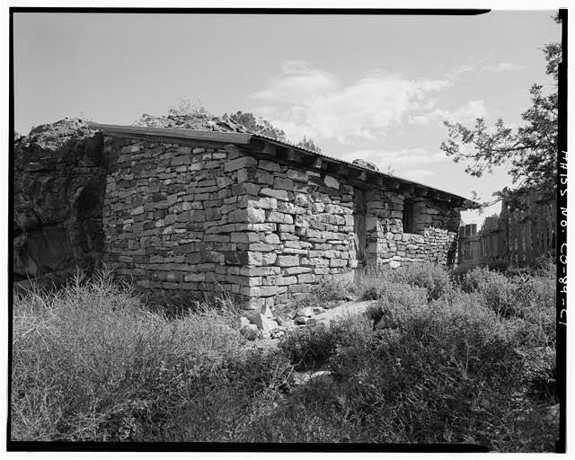 Stone outbuilding, front & left side, looking northeast. - Adam & Bessie Arnet Homestead, Stone Outbuilding, 40 feet southeast of Adobe Barn, Model, Las Animas County, CO